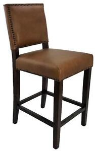 Counter Stools with Back, Genuine Top Grain Leather in Antique Brown, Black or Taupe