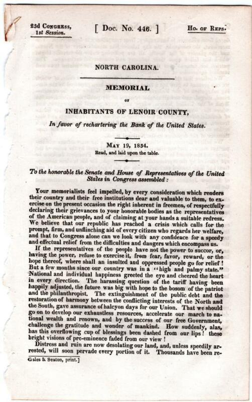 Meeting of Inhabitants of Lenoir County, NC, in favor of  the Bank of the US