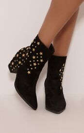 Black Faux Suede Star Studded Ankle Boots - NEW Size 8