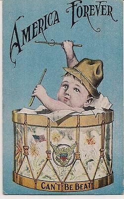 WWI Era America Forever Can't Be Beat Patriotic Drummer Drum Baby Flag Postcard