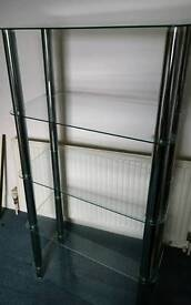 Glass shelving unit - chrome and tempered glass