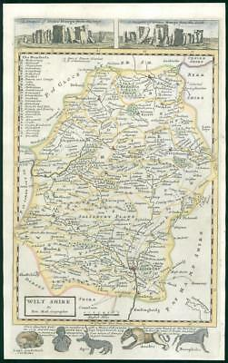 1733 - Rare Original Antique Map of WILTSHIRE by Herman Moll hand coloured (4)