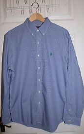 Ralph Lauren Checked Shirt (Light Blue, Slim Fit Large) (READ DISCRIPTION)