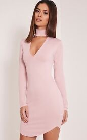 BRAND NEW, Blush pink Choker high neck long sleeved dress. Size 12-14. Includes tags.
