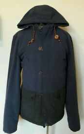 Mens NEXT Padded Blue/Black Parka Coat Size Medium