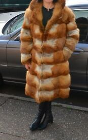 Natural Fox fur coat size 8 full length