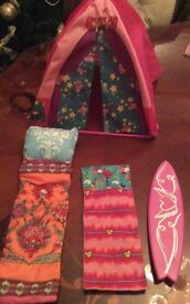 Barbie's Camping tent and 2 Sleeping bags