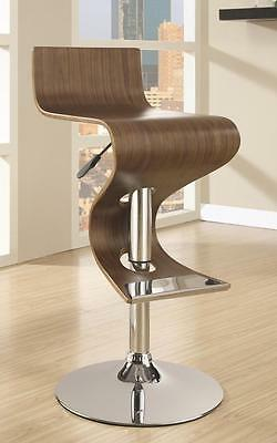 Modern Walnut Adjustable Bar Stool Chair with Chrome Base by Coaster 100396