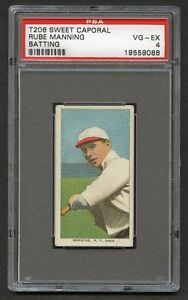 1909-11-T206-Rube-Manning-Batting-New-York-Amer-PSA-4-VG-EX-Sweet-Caporal