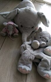 grey elephant soft toys 1 large 1 small and 1 backpack