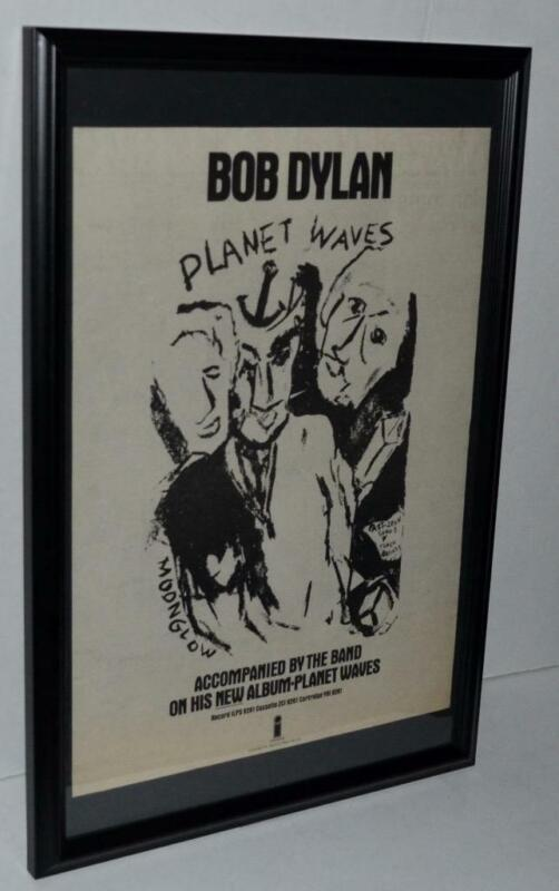 BOB DYLAN 1974 NEW ALBUM PLANET WAVES W / THE BAND FRAMED PROMO POSTER / AD