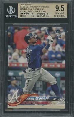 2018 Topps Bat Pointing Up #698 Ronald Acuna Jr Rookie RC Gem Mint BGS 9.5