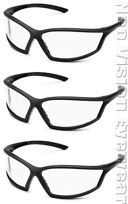 3 Pair Gateway 4x4 Clear Safety Glasses Full Frame Matte Black Z87 Csa Z94.3