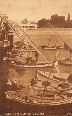 Italian Fishing Boats SANTA CRUZ California ca 1910s Vintage Postcard