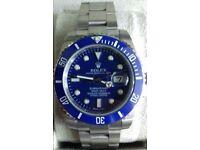 rolex submariner blue face and gmt ceramic bezal .waterproof . sapphire glass.2.5 date. glide lock.