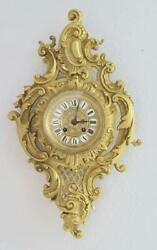 Lovely Antique French 1870's Embossed Gilt Bronze Striking Cartel Wall Clock