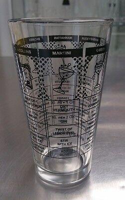 16oz. RECIPE MIXING GLASS Cocktail Shaker, Martini Stirring Glass Home Bar