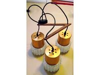 Triple pendant light fitting - brushed copper and faceted glass