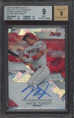 2017 Bowman`s Best Atomic Refractor Mike Trout 3/25 RC Rookie Mint BGS 9  Auto