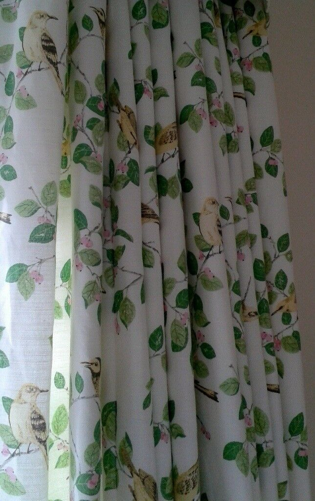 Beautiful Laura Ashley Made to Measure Interlined Curtains 120 x 153cm (each curtain) Aviary Garden