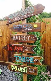 Hand painted tiki totem signs for your garden
