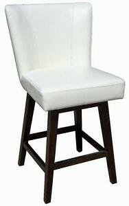 Swivel Leather Counter Stool for Kitchen in Ivory, Black, Brown or Red