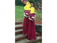 Two dark red burgyndy red chiffon bridedmaids dresses sizes 6/8 and 10/12