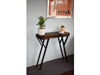 100cm Industrial Console Table Mid Century Modern Style Table Chunky wood