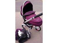 Silver Cross Surf in Burgandy/PINK/BLACK with Accessories REDUCED TO CLEAR
