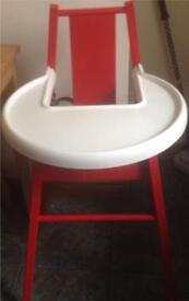 IKEA red & white baby high chair