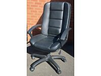 Adjustable Office Chair, Executive Black faux leather type