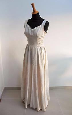 Vintage 1940's Ivory Wedding Dress -  Sleeveless - Floral Brocade Fabric