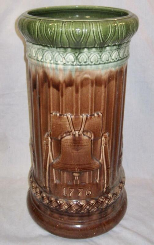 Liberty Bell & Independence Hall Mccoy Pottery Umbrella Stand Antique (O2) AS IS