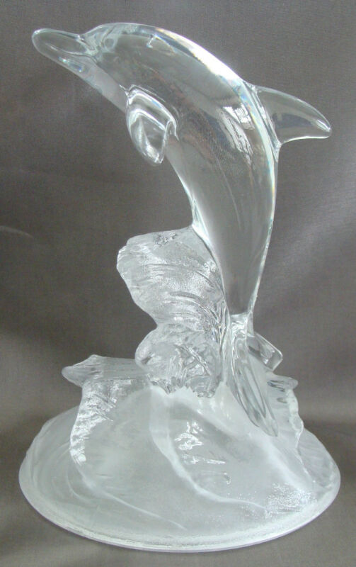 Beautiful Clear Glass DOLPHIN Figurine Swimming in the Waves