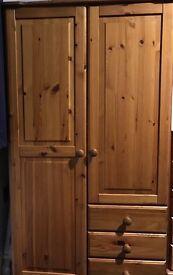 Child's Pine Wardrobe and Matching Tall Draws
