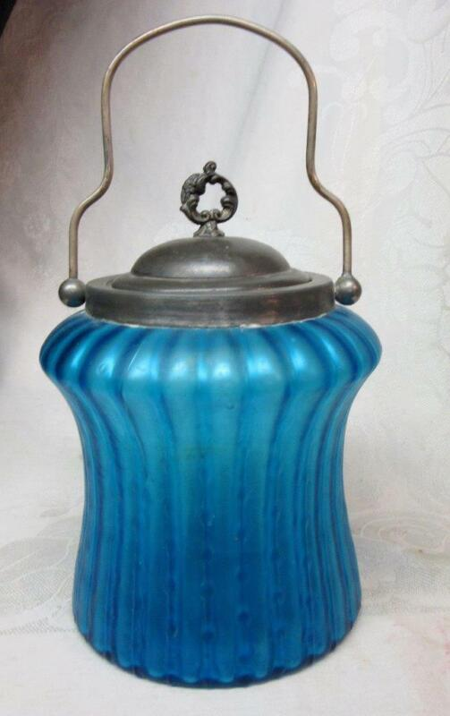 Stunning BLUE AURENE ART GLASS CRACKER, BISCUIT JAR     ANTIQUE   Take A Look!