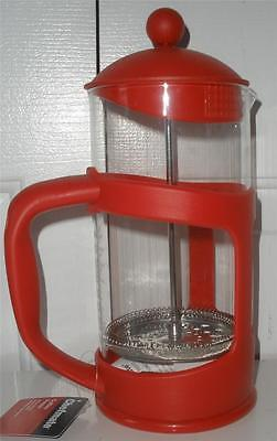 Chefmate Glass Red Holder 4 Cup French Press Coffee Maker Offc Holiday Gift