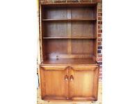 Vintage 1980s Ercol Elm Windsor Golden Dawn open display top + 2 door cabinet base/model 802D.