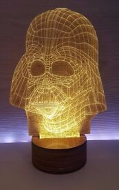 LED Darth Vader light with premium wooden base