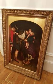 19th century large oil painting , listed artist, original frame