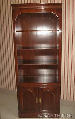 (Ethan Allen Kling Cherry Lighted China Cabinet Bookcase Wall Unit  9119)