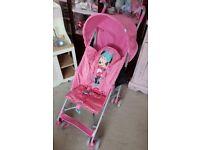 Minnie Mouse Pink Pushchair Stroller!