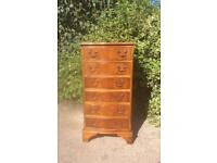 Vintage Serpentine Yew Wood Six Drawer Chest of Drawers