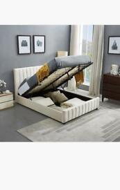 OPTIONAL MATTRESSES-Double and King Size Lucy Ottoman Storage Bed Frame in Grey and Beige Color