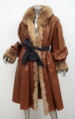 BELTRAMI Womens VINTAGE Brown Tan Leather+FUR Belted Oversized Coat Jacket M