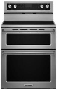 KitchenAid YKFED500ESS Ceran Double Oven Whit True Convection, 6.7 Cu.ft.