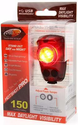 CygoLite Hotshot Pro 150 Lumens LED Bicycle Rear Tail Light USB Rechargeable