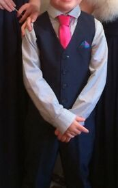 Boy's Wedding Oufit from Next. Navy suit trousers, waistcoat, shirt & pink tie. Age 6.