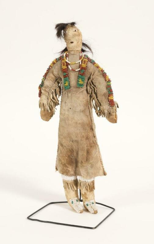 c.1900 Plains Native American Beaded Doll w/ Leather Dress (Cheyenne or Sioux)