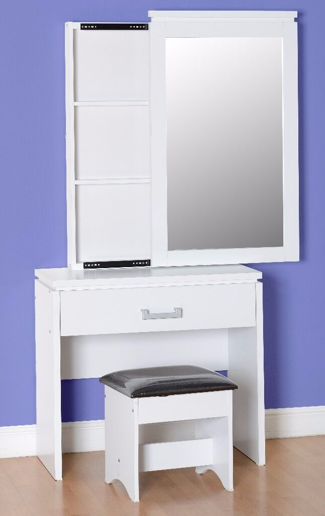 NEW Charles dressing table with storage mirror & stool in white or light oak effect ONLY £129